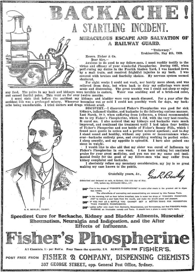 Fisher's Phospherine advertisement 1909.png