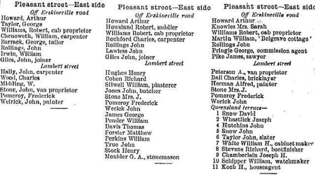 Pleasant Street Sands 1886-88