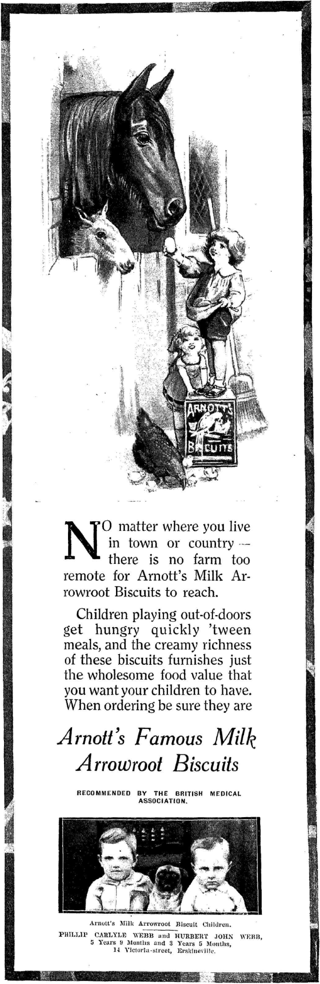 Arnott's Milk Arrowroot Biscuit Children - 1924.png
