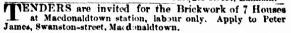 1887 - Eden Terrace Macdonaldtown Brickwork Tender Invitation