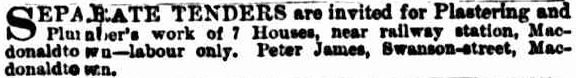 1887 - Eden Terrace Macdonaldtown Plastering and PlumbingTender Invitation