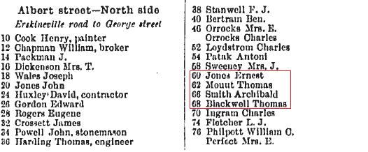 Macdonaldtown Sands Directory extract 1891