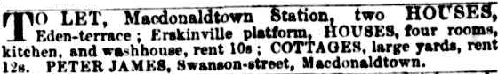 To Let - Eden Terrace Macdonaldtown 1887