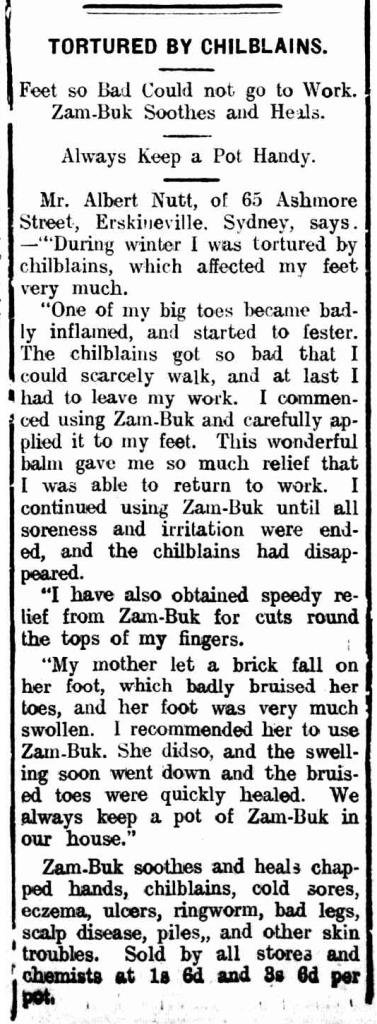 Zam-Buk advertisement Erskineville 1918
