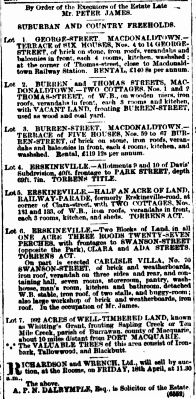 1902 Estate late Peter James Erskineville.png