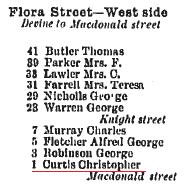Flora Street West Side 1908