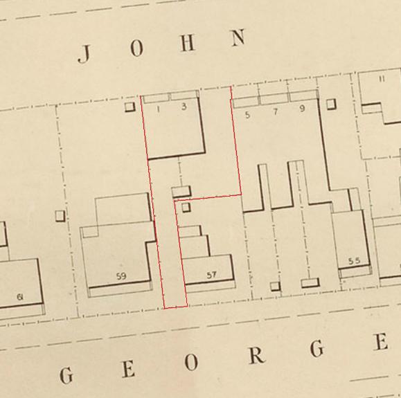 1 and 3 John Street Erskineville 1894 City of Sydney section Erskineville.png