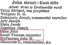 John Street Macdonaldtown Sands Directory Extract 1889