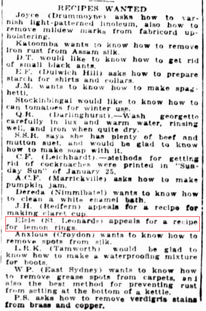 Recipies wanted - February 1920