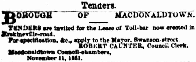 Macdonaldtown Lease of toll-bar 1881.png