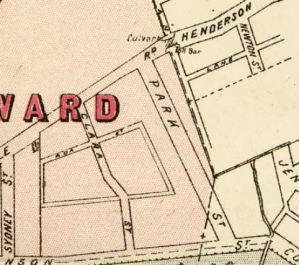 Park St Extract Macdonaldtown, Parish of Petersham Higinbotham, Robinson & Harrison 1886