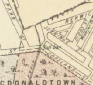 Map of Alexandria, Parishes of Alexandria and Petersham circa 1886 Toll bar