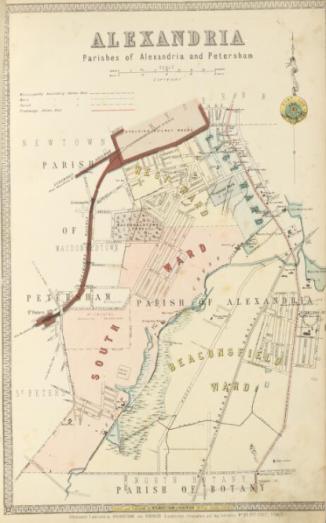 Map of Alexandria, Parishes of Alexandria and Petersham circa 1886