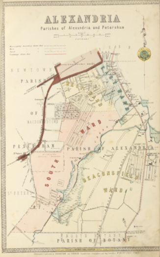 Map of Alexandria, Parishes of Alexandria and Petersham circa 1886