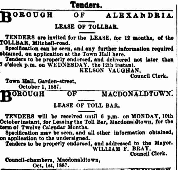 Tenders for Alexandria and Macdonaldtown Tollbars 1887.png