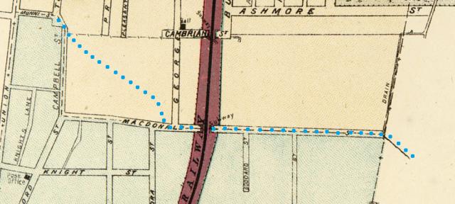Extract of map Macdonaldtown Parish of Petersham Macdonald Street