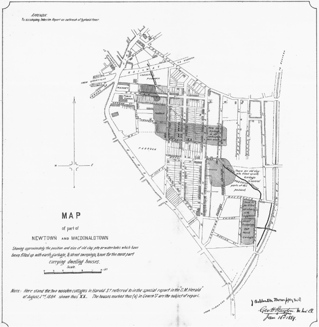 1889 Map of Newtown and Macdonaldtown Showing approximately the position and size of old clay pits or waterholes