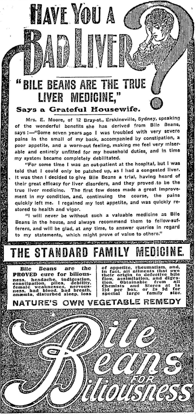 Bile Beans are the true liver medicine Bile Beans Erskineville 1910.png