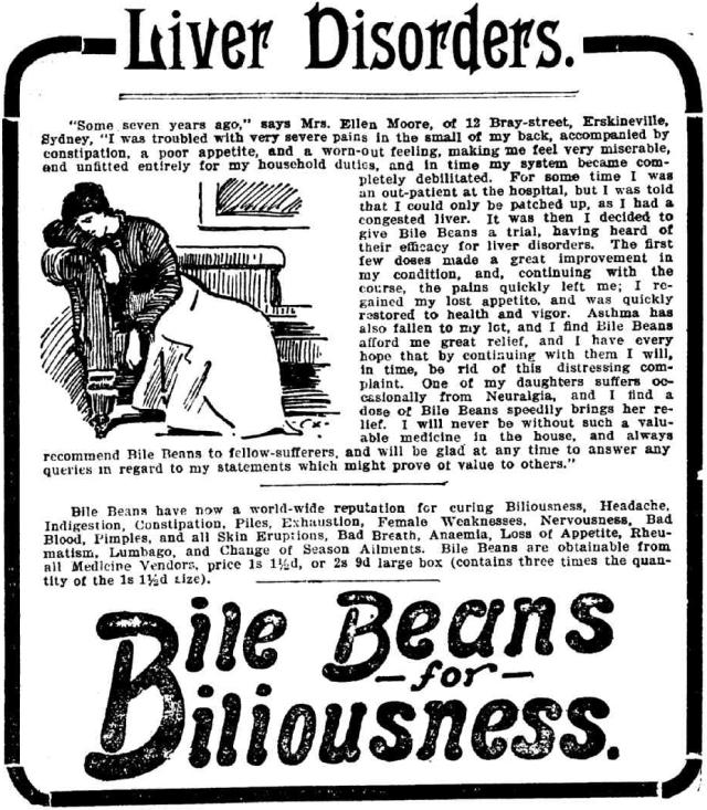 Bile Beans For Biliousness - Liver Disorders - Erskineville 1903