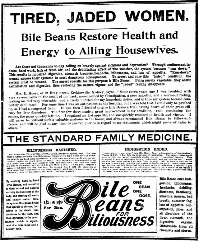 Bile Beans restore health and energy to ailing housewives Erskineville 1909.png