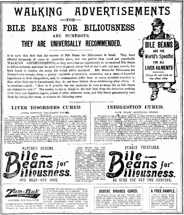 Bile Beans Walking Advertisements 1903