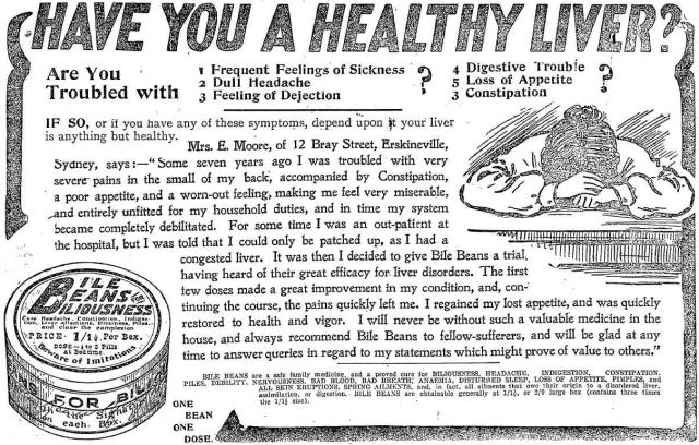 Have you a healthy liver Bile Beans for Biliousness Erskineville 1905.png