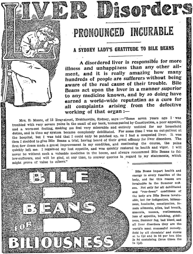 Liver disorders pronounced incurable Bile Beans Erskineville 1908.png