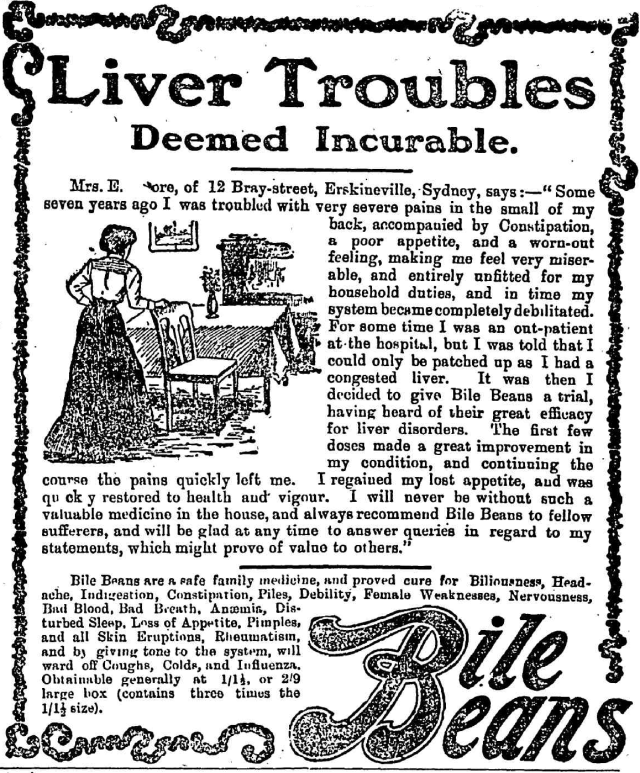 Liver troubles deemed incurable Bile Beans Erskineville 1905.png