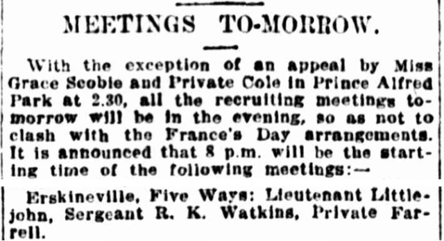 Recruiting meeting Erskineville Five Ways July 1917