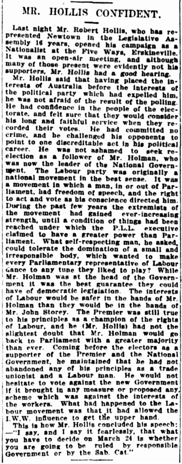 Robert Hollis 1917 Legislative Assembly campaign opening